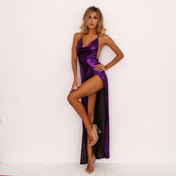 FabuleuxFemme Purple Plunge Evening Dress