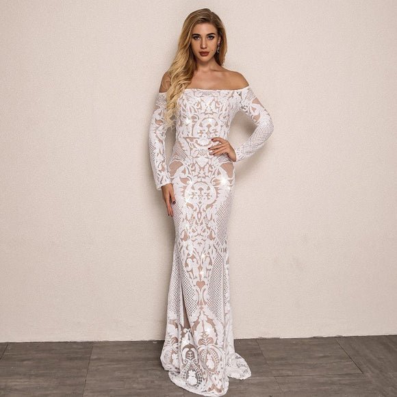 FabuleuxFemme White Lace Off The Shoulder Gown