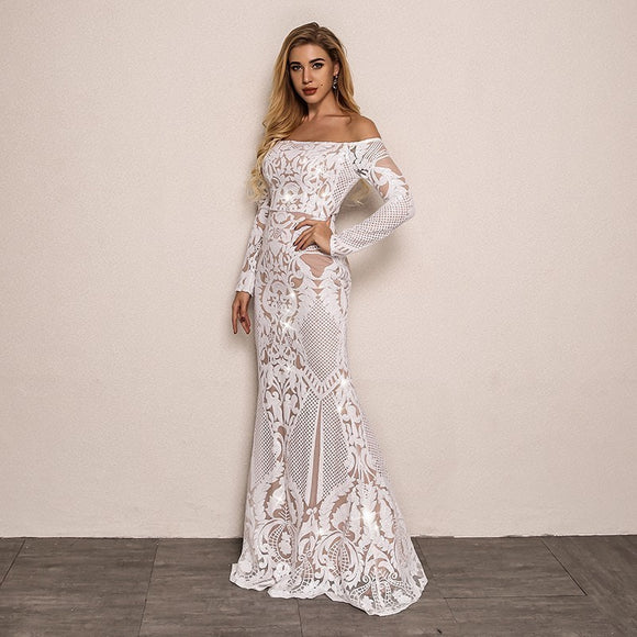 FabuleuxFemme Embroidery Long Evening Dress