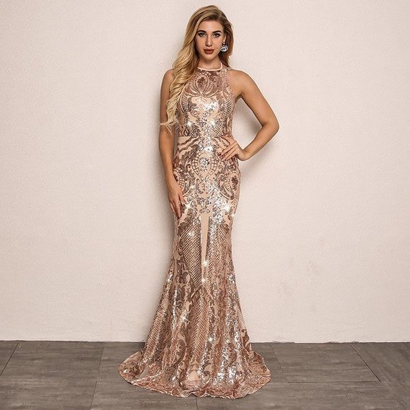 FabuleuxFemme Golden Sequin Long Evening Dress