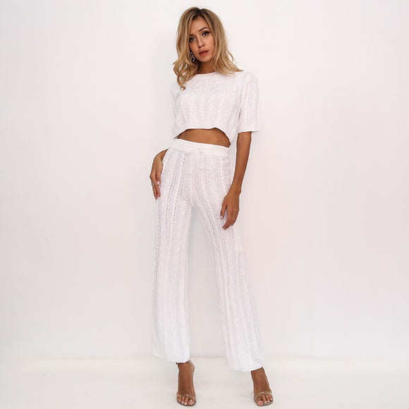 FabuleuxFemme Woven Two Piece Trouser Set