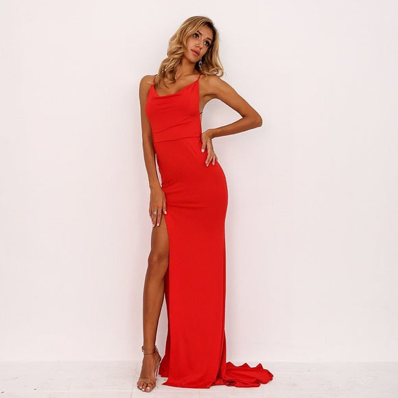 FabuleuxFemme Red Evening Dress
