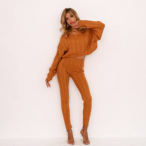 FabuleuxFemme Knitted Burnt Orange Two Piece