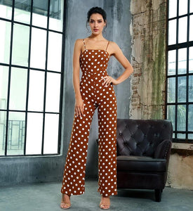 Fabuleux Femme Brown And White Dot Jumpsuit