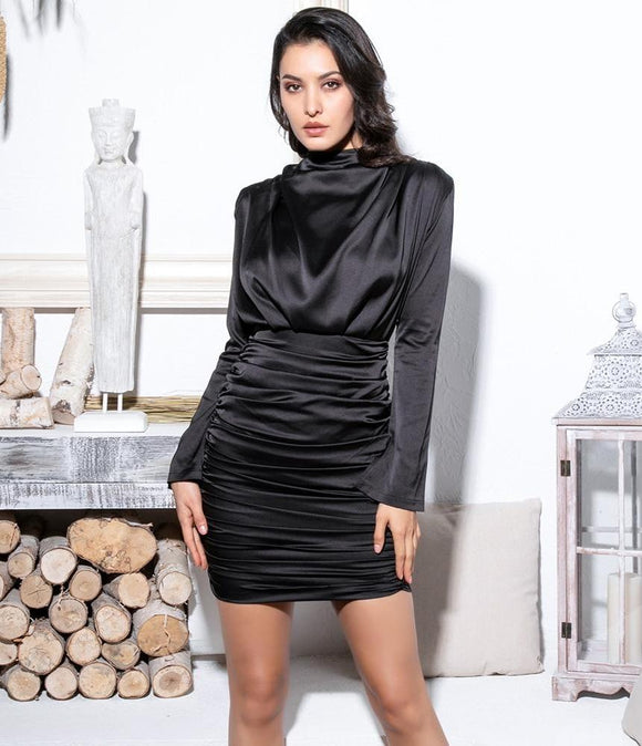 Fabuleux Femme Black High Neck Pleate Bodycon Dress