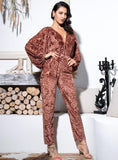 FabuleuxFemme Brown Velvet Jacquard Fabric High Waist Jumpsuit