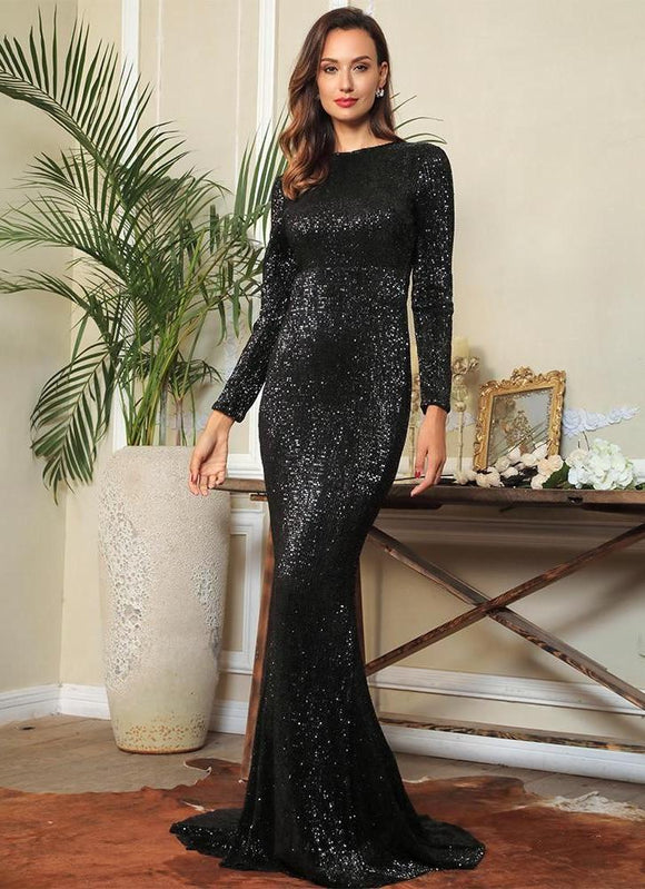 Fabuleux Femme Black Sequin Fishtail Shape Dress