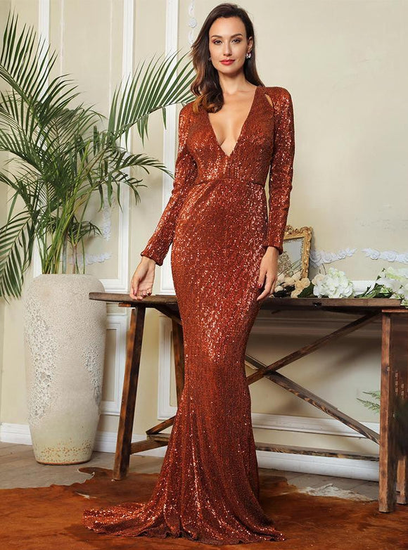 Fabuleux Femme Brown Deep V-Neck Cut Out Sequin Dress