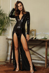Fabuleux Femme Black Deep V-Neck Cut Out Sequin Jumpsuit