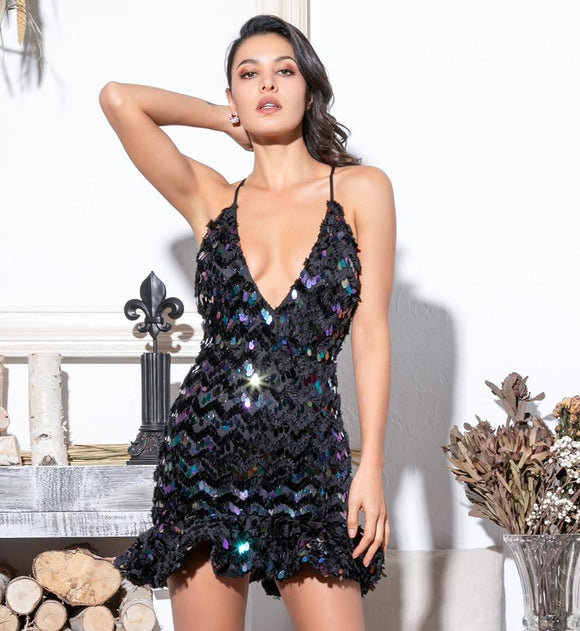 FabuleuxFemme Sequin Ruffled Dress