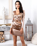 FabuleuxFemme Champagne Deep V-Neck Cut Out Bodycon Long-Sleeved Dress