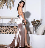 FabuleuxFemme Champagne Satin Long Split Evening Dress