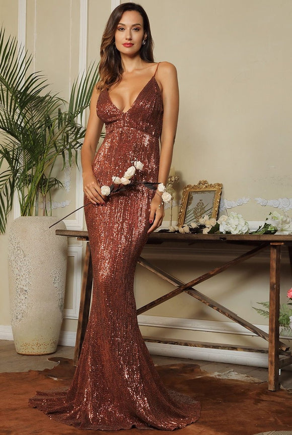 Fabuleux Femme Brown Deep V-Neck Open Back Sequin Dress