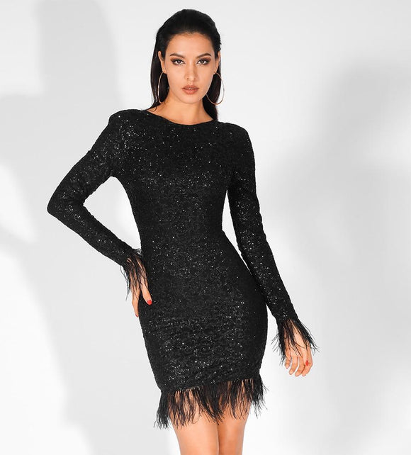 Fabuleux Femme Black Feathers Low Back Glitter Bodycon Dress
