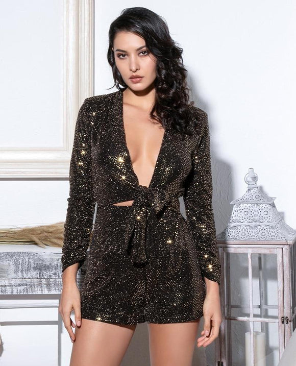Fabuleux Femme Gold & Black Deep V-Neck Glitter Sequins Long Sleeve Playsuit