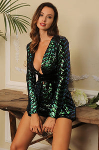 Fabuleux Femme Green Deep V-Neck Sequin Playsuit