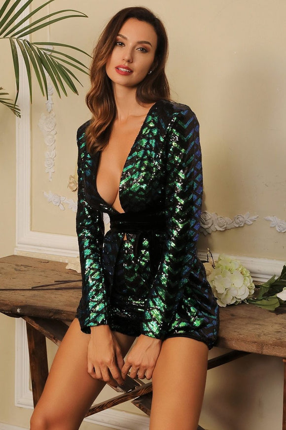 Fabuelux Femme Green Deep V-Neck Sequin Two-Pieces Playsuit