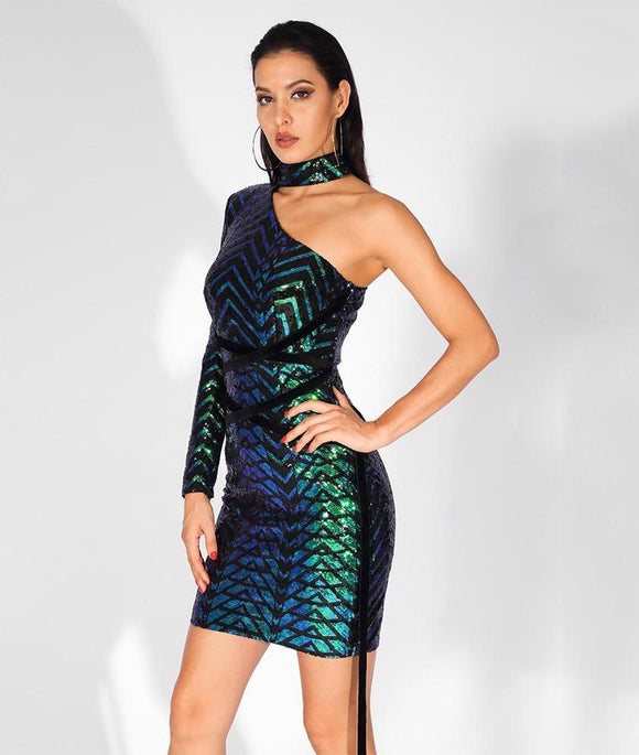Fabuleux Femme One-Sided Off-The-Shoulder Sequin Dress