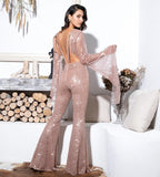 FabuleuxFemme Blush Glitter Flare Two Piece