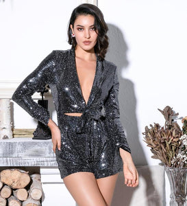 FabuleuxFemme Silver Deep V-Neck Glitter Sequin Long Sleeve Playsuit