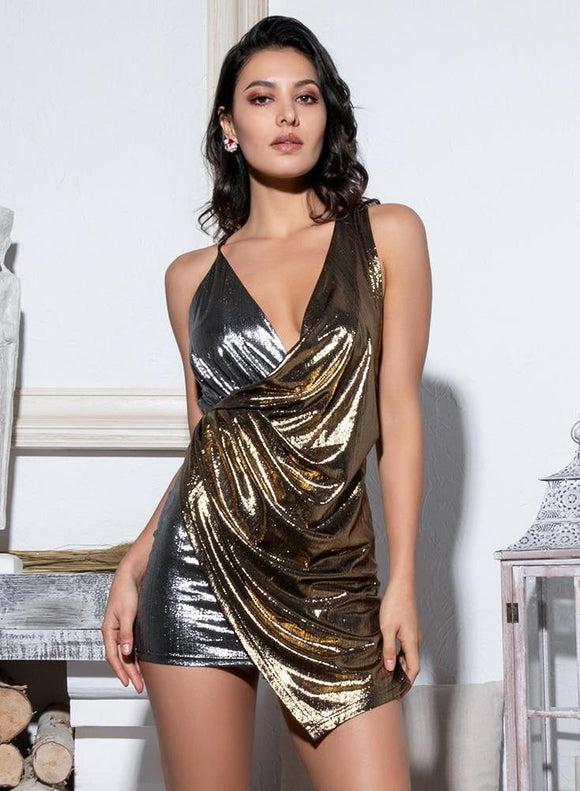 Fabuleux Femme Silver/Gold Deep V-Neck Open Back Bodycon Dress