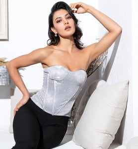 FabuleuxFemme Silver Shimmer Corset Top