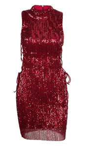 Fabuleux Femme Wine Red Collar Side Cut Out Sequin Sleeveless Dress
