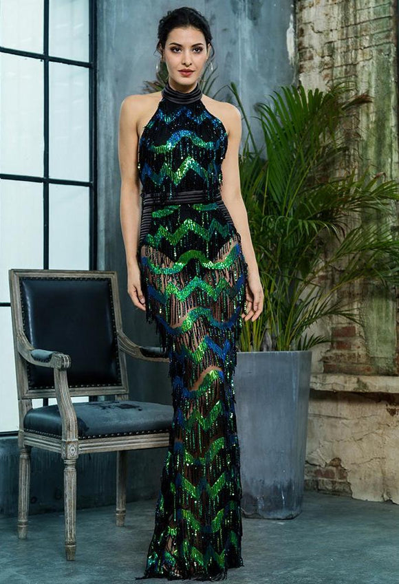 Fabuleux Femme Green Wave Tassel Sequin Open Back Long Dress
