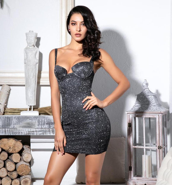 Fabuleux Femme Black Glitter Bodycon Dress