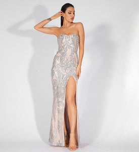 Fabuleux Femme Silver Strapless Cut Out Sequin Long Bodycon Dress