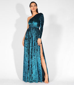 Fabuleux Femme Green Velvet Long Dress