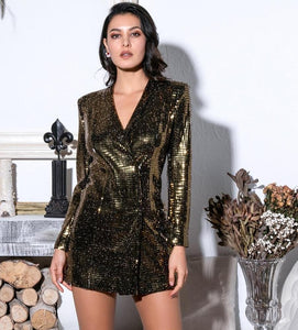 FabuleuxFemme Black & Gold Long Sleeve Glitter Party Dress
