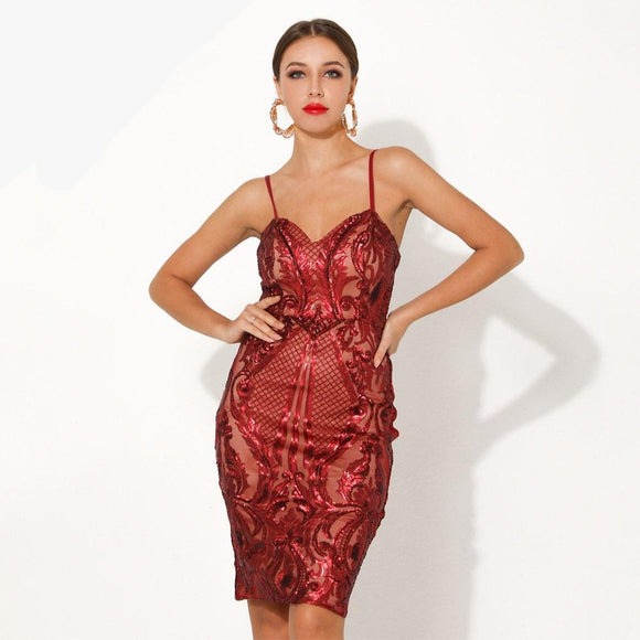 Fabuleux Femme Red Bodycon Sequin Glitter Dress