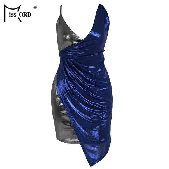 Missord 2019 Sexy V Neck Patchwork Dresses mixed color Cross metal Backless  Bodycon Mini Dress Vestidos  FT18975