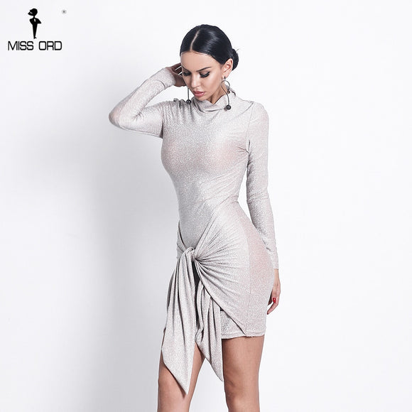 Missord 2019 Sexy Women High O neck  Elegant Glitter Women Dresses Lace Up Bow Bodycon  Party Dress Vestidos  MM1890