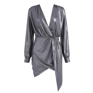 FabuleuxFemme Silver V Plunge Wrap Dress