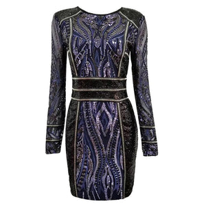 FabuleuxFemme Long Sleeve Black & Blue Sequin Bodycon Dress
