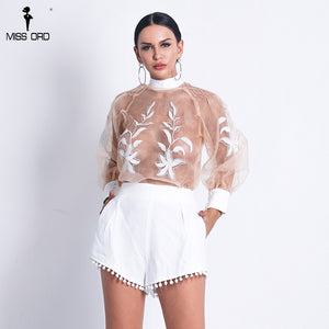 Missord 2019 Women Sexy  O Neck See Through Top Solid Color Short  Set Lace-Up  Playsuits FT18708