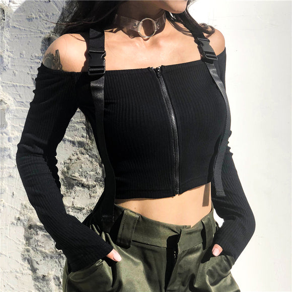 Black Buckle Long Sleeve Crop Top