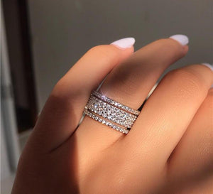choucong Starlight Promise Ring 925 sterling Silver five dazzling layers AAAAA cz Engagement Wedding Band Rings For Women men