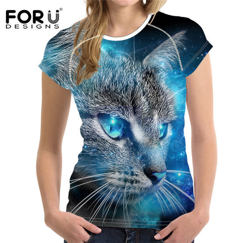 3D Galaxy Cat Prints T Shirt