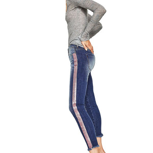 Side Striped Stretchy Jeans
