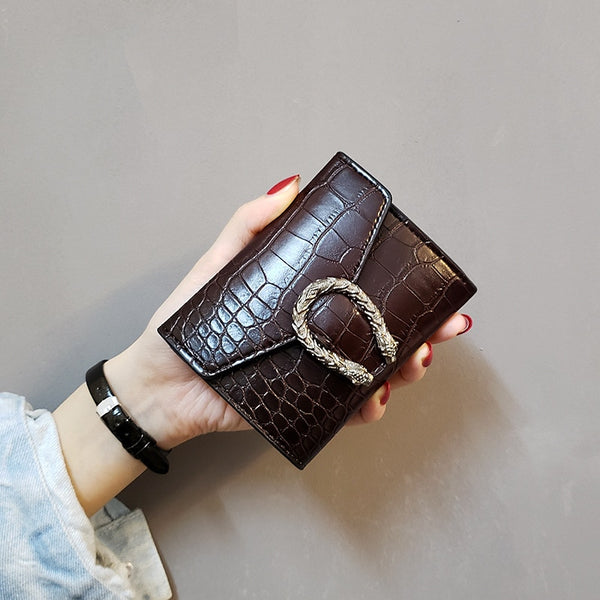 Women's short wallet  retro wild wallet women's crocodile pattern