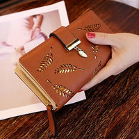 Women Hollow Out Leaf Long Clutch Purse Card Holde