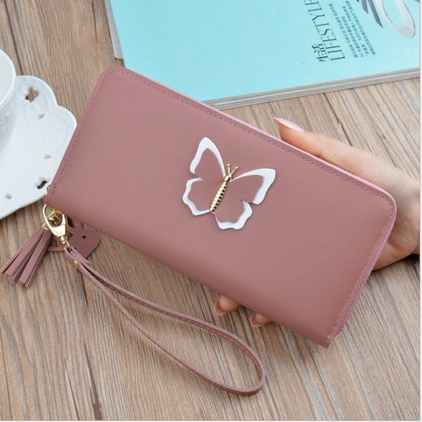 Long Ladies Leather Wallet Zip Purse Butterfly