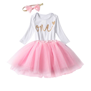 """One"" Pink and Gold First Birthday Outfit"
