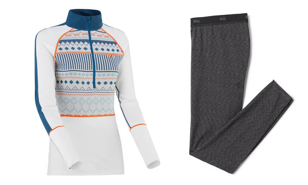 Left: Colorfully printed quarter-zip top. Right: Grey base layer leggings.
