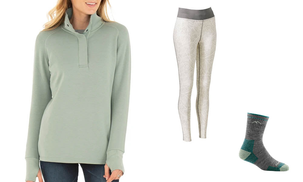 Left: Sage-colored button-up top. Middle: Beige-printed leggings. Right: Grey wool socks.