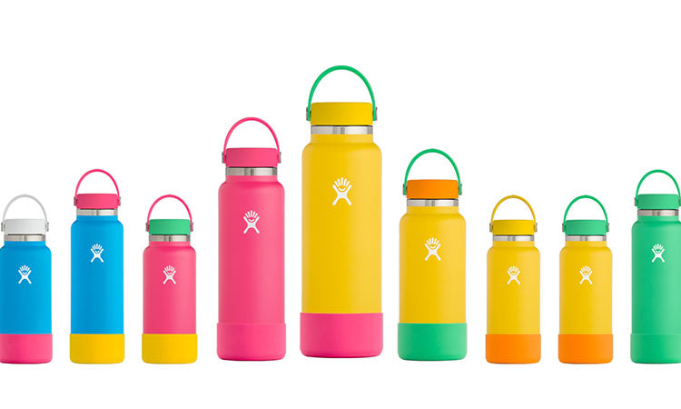 Multiple Hydroflask waterbottles in a variety of neon bright colors