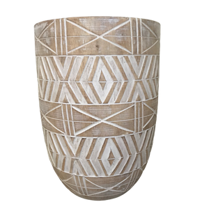 Whitewash Timber Vase 40cm